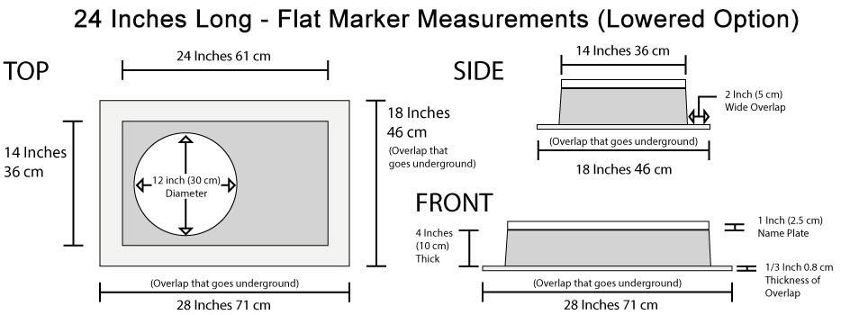 High-Tech Flat Marker Memorial Measurements