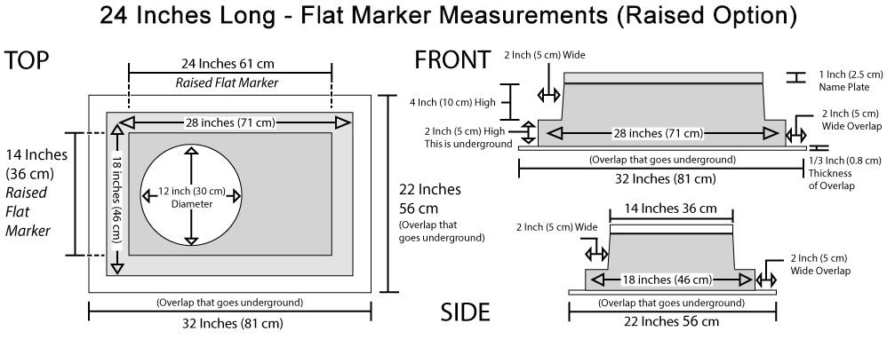 High-Tech Flat Marker Memorial Raised Measurements
